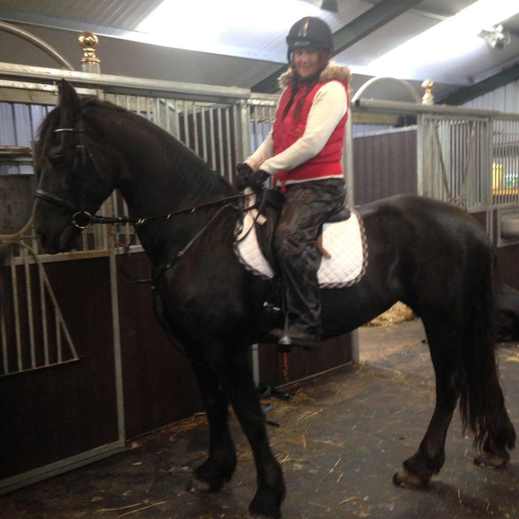 Back on a horse 5 months after her op